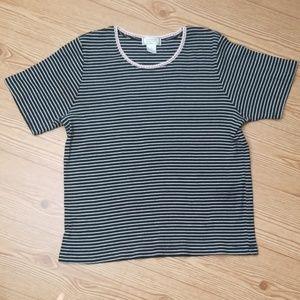 Jennifer Moore - Black/White Striped Short Sleeve